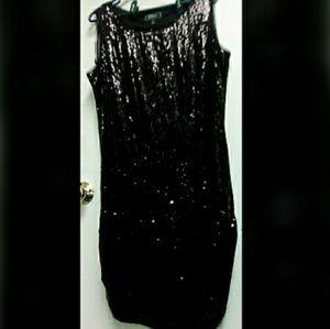 Dress Barn collection black sequin dress sz 10